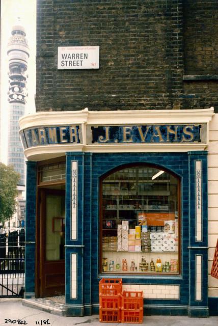 J Evans, Dairy, Conway St, Warren St, Fitzrovia, Westminster, 1986,