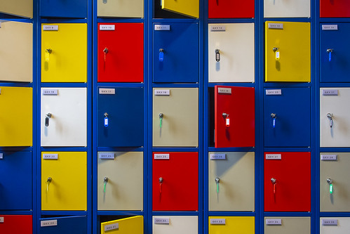 Lockers in primary colors
