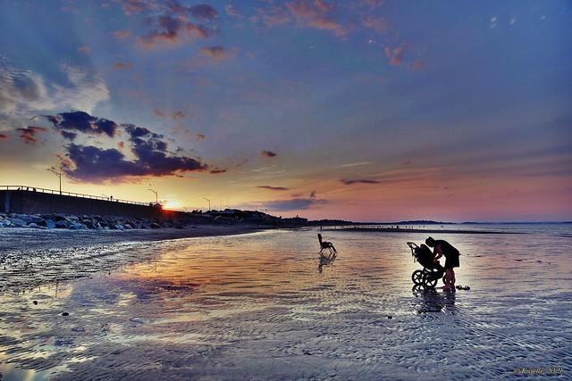 Sunset on the beach / Nantasket Beach Resort -  Hull, Massachusetts.