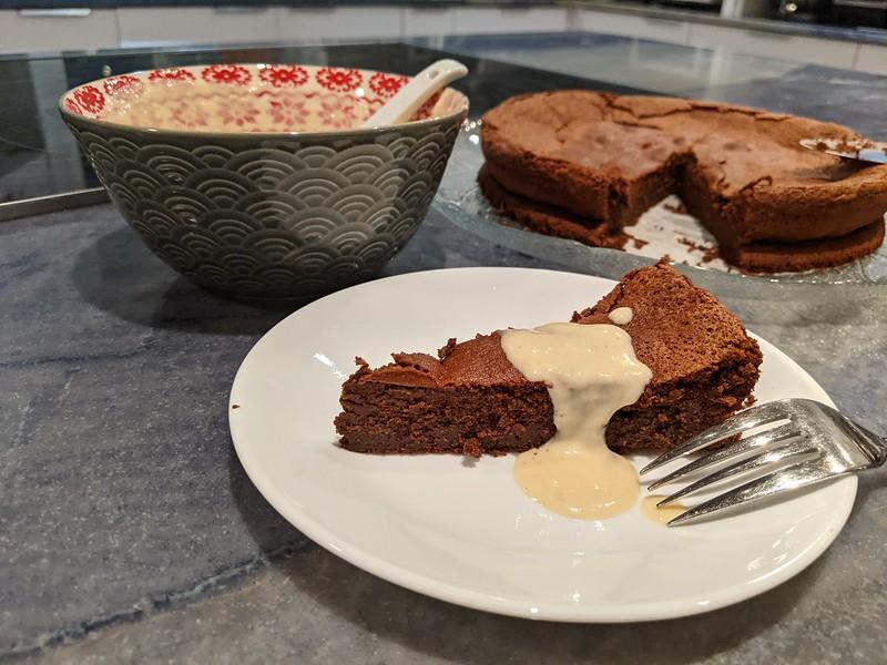 Flourless Chocolate Cake With Halvah Honey Sauce