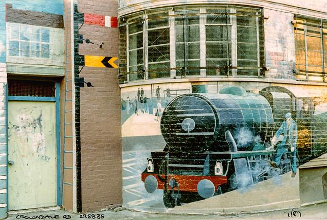 Engine, Mural, Crowndale Rd, Camden, 1986,
