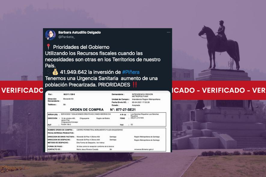 Es real que la Intendencia Metropolitana gastó casi  millones en un cierre perimetral para el monumento del general Baquedano