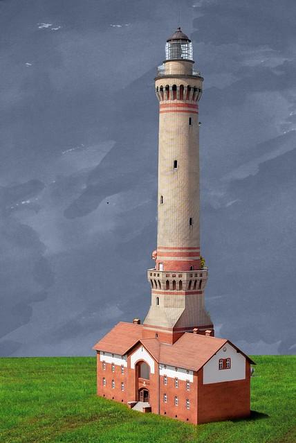 Leuchtturm in Świnoujście grau