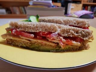 Avocado, smoked Miyoko's, smoked tofu, tomato, mayo sandwich