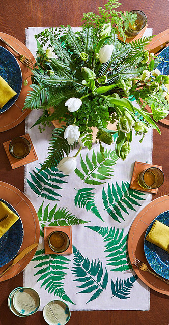 Ferns & Leather Tablescape