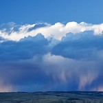 7. Aprill 2019 - 7:08 - A shot taken a couple of years back of a  rainstorm moving thru the foothills west of Calgary.