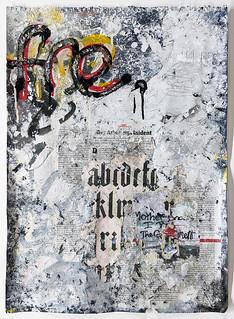 Zavier Ellis 'Freiheit VI', 2021 Acrylic, emulsion, gloss, spray paint, collage on paper 59.4x42cm