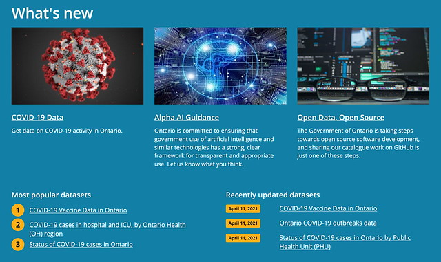 Province of Ontario Open Data - Whats New