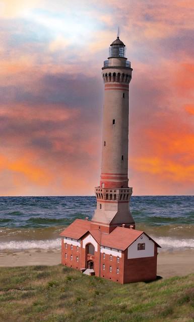 Leuchtturm in Świnoujście Morgenrot
