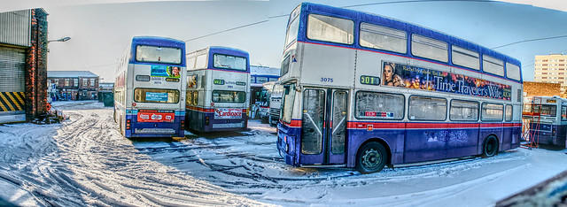 Miller St F74XOF, F83XOF, F75XOF,  All  Birmingham Built MCW   Metrobuses,  in the snow waiting  for one last journey  (to a Barnsley Scrapyard)