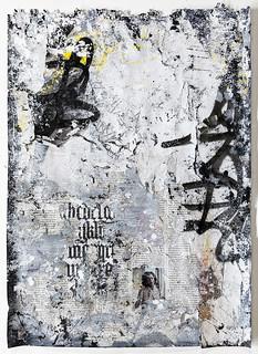 Zavier Ellis 'Freiheit V', 2021 Acrylic, emulsion, gloss, spray paint, collage on paper 59.4x42cm