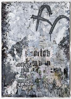 Zavier Ellis 'Freiheit I', 2021 Acrylic, emulsion, gloss, spray paint, biro, collage on paper 59.4x42cm