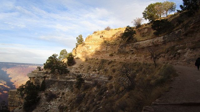 Arizona - Grand Canyon: Below the rim - the last section up on Bright Angel Trail as dawn begins to break