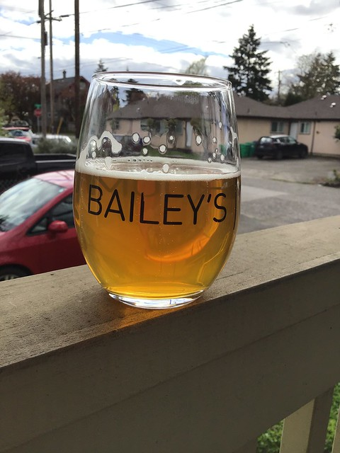 10 Barrel All Ways Down IPA, in glass outside