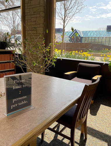 "Table inside the library with a sign that reads, ""Please limit to 2 persons per table."" The window near the table shows many yellow daffodil flowers blooming and the Wriston art galleries building in the background."