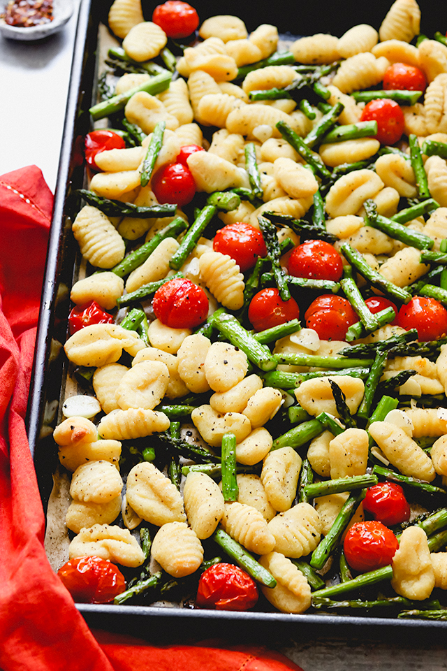 Crispy Sheet Pan Gnocchi with Spring Vegetables and Pea Pesto