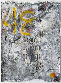 Zavier Ellis 'Freiheit IV', 2021 Acrylic, emulsion, gloss, spray paint, collage on paper 59.4x42cm