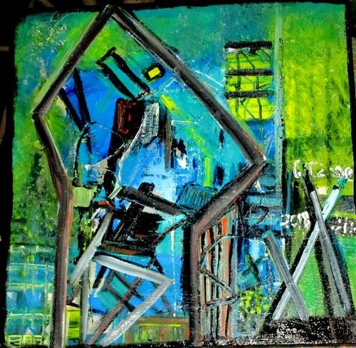 ציורים כתמי צבע שרה זלוטי ציירת מופשטים עכשווית יוצרת אבסטרקטית מודרנית ציור מופשט אמנית אבסטרקט