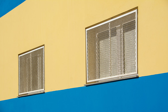 Facade with yellow and blue