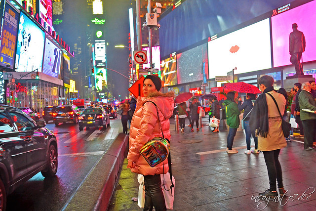 Me in Times Square on a Foggy Evening Midtown Manhattan New York City NY P00860 DSC_9306