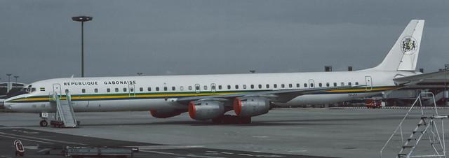TR-LTZ Gabon Government  DC-8-73CF  parked at  CDG 1986 (Rescanned 2)