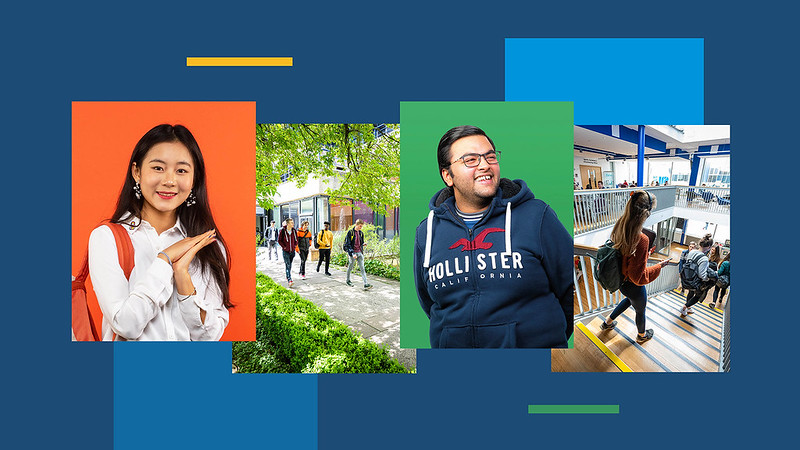 4 horizontal photos on a web banner - one male and females portrait photo and two general campus photos on a navy blue background.