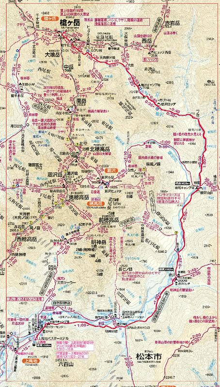 槍ヶ岳の地図