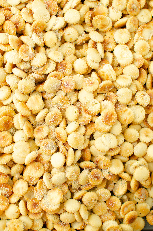 OVerhead shot of oyster crackers coated in ranch seasoning and grated Parmesan
