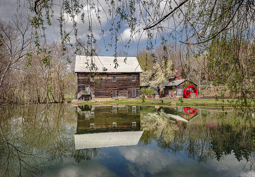 mill cooksmill greenville wv westvirginia monroecounty historicmill reflection clouds spring waterwheel pond landscape bobbell nikon d800
