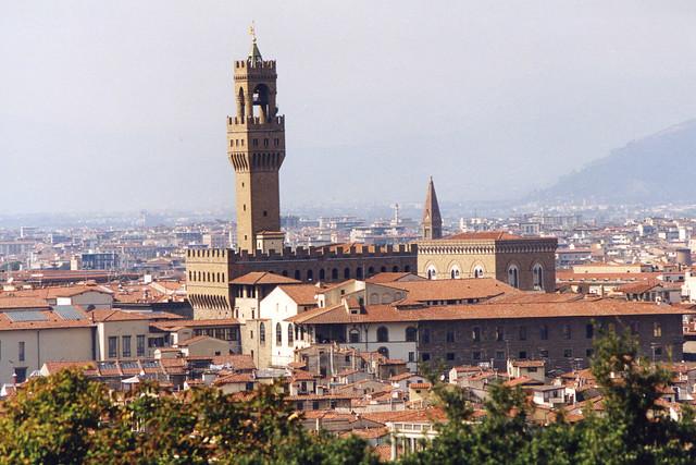 1998.09.21.049 FLORENCE - Piazzale Michel Angelo, Vue sur le Palazzio Vecchio.