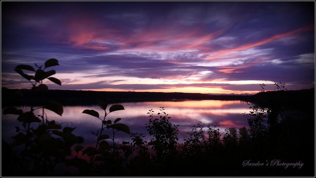 Sunset over Glenmore Lake,Calgary.