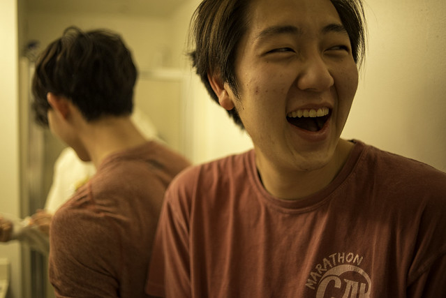 Candid Laugh in the Bathroom