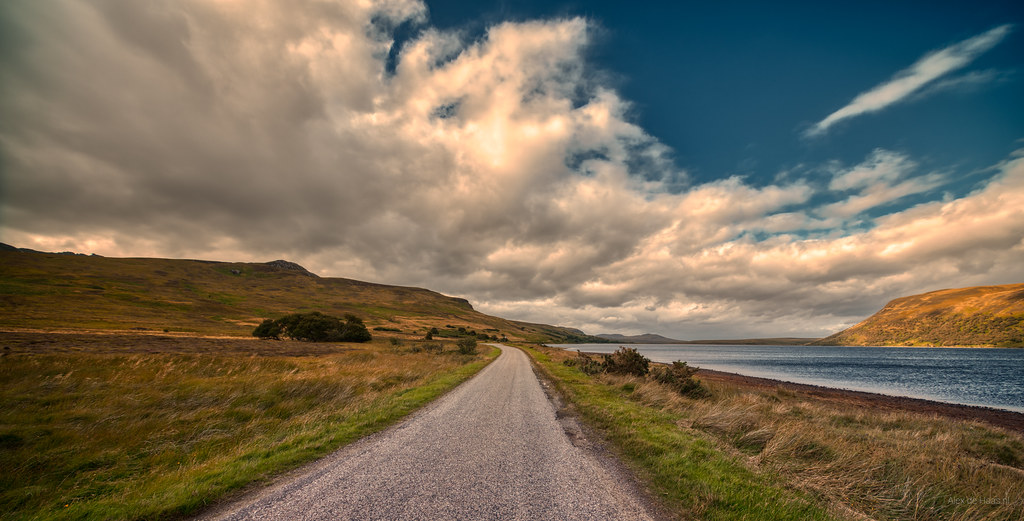 A836 next to Loch Loyal, Scotland.