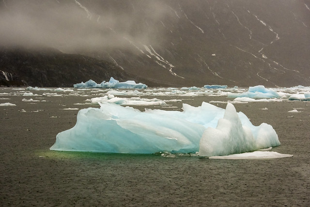 Blue ice and raindrops