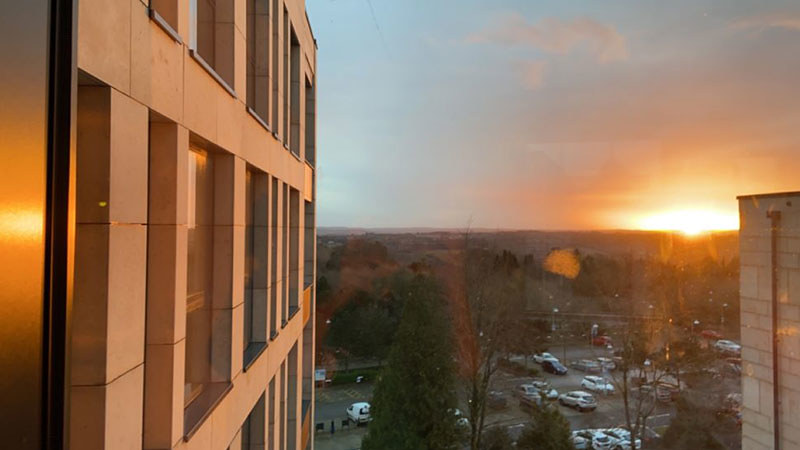 View of the sunset from Polden.