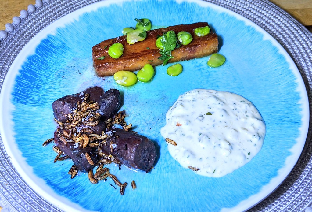 Smoked belly bacon, sauce gribiche, broad bean and lemon oil dressing with purple carrots with smoked garlic honey, chilli and puffed rice