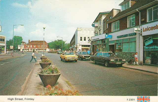 High Street, Frimley old postcard early 1980s