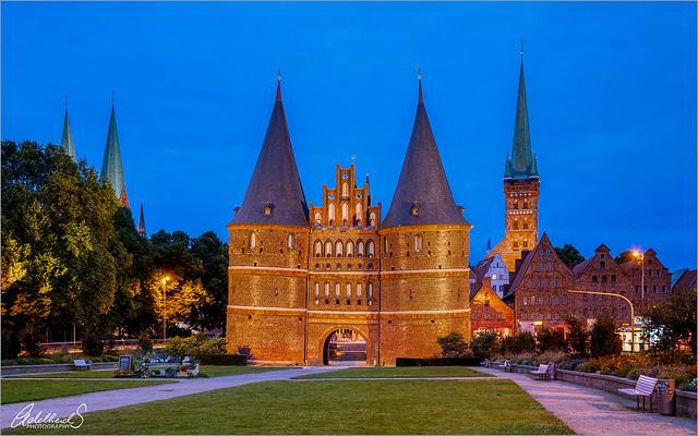 Holstentor in Blue, Lübeck, Germany