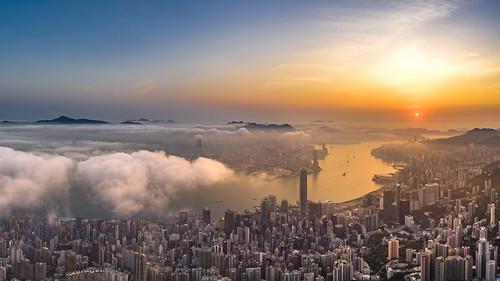 sunrise hongkong seeofcloud cityscape