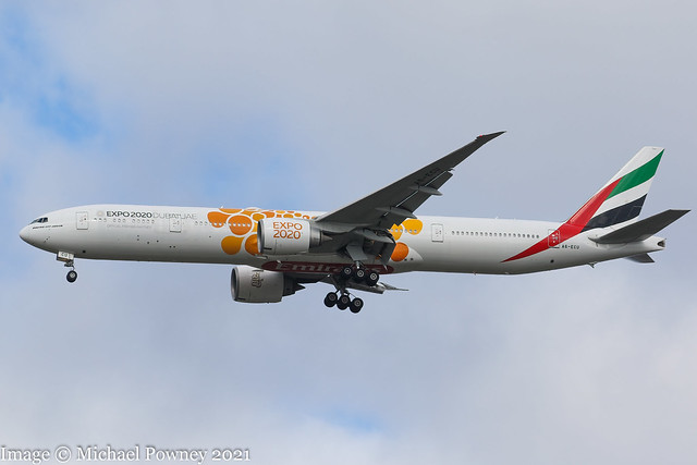 A6-ECU - 2009 build Boeing B777-31HER, on approach to Runway 23R at Manchester