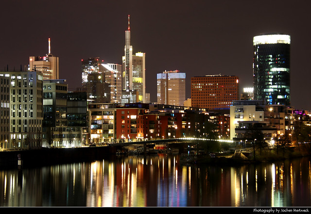 Skyline seen from Main-Neckar-Brücke, Frankfurt, Germany