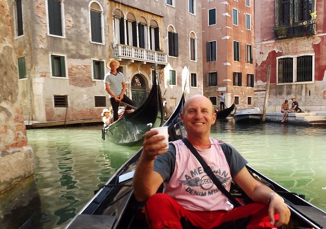 drinking bubbly on the gondola in Venice,  aah