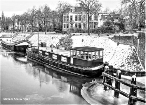 Winter aan Zuiderpark & Herebrug , B&W ,Groningen Stad, the Netherlands | by Aheroy