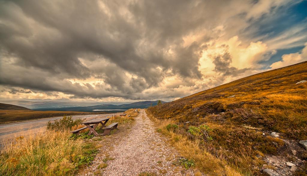 Big clouds at ski resort Cairngorm Mountain, Scotland.