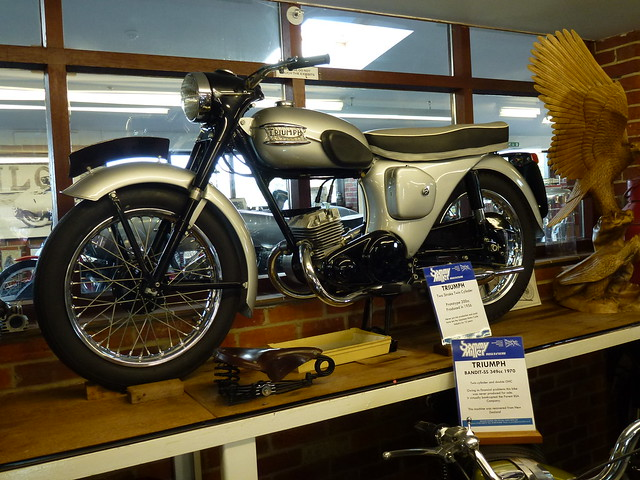 A Triumph prototype 200cc 2 stroke twin. From 1956.  Sammy Miller Museum