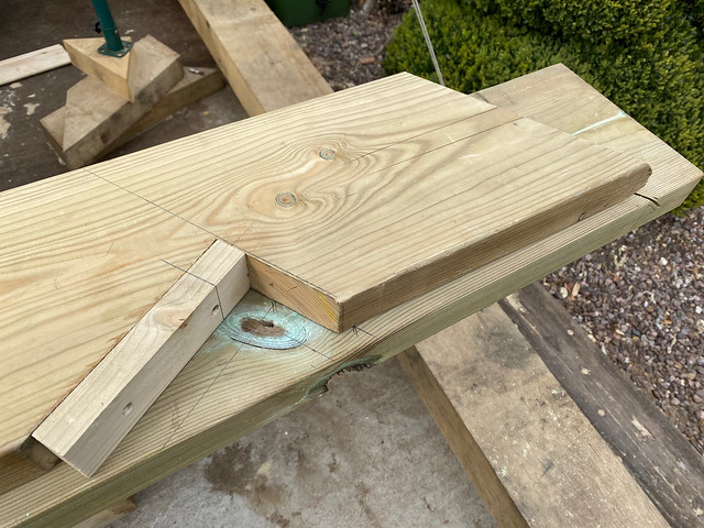 Cutting replacement hip rafters