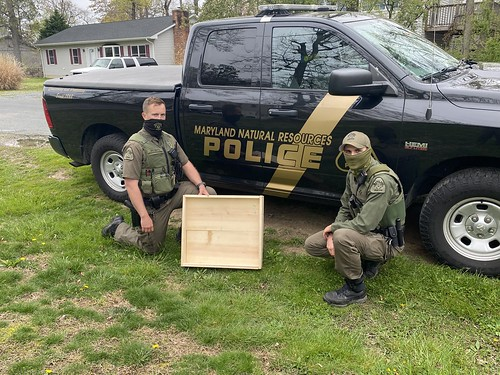 Photo of officer with a nest platform they constructed