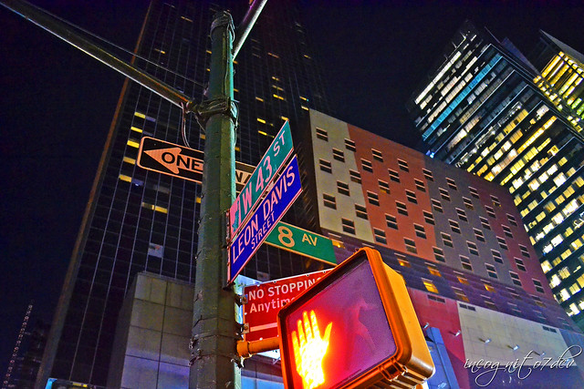 Street Signs at Night & The Westin New York Times Square Hotel Midtown Manhattan New York City NY P00862 DSC_3905