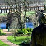 Statue overlooking Miller Park at Preston