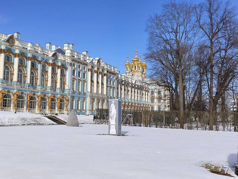 Царское село (Пушкин) - Большой Екатерининский дворец - Вид на Дворцовую церковь